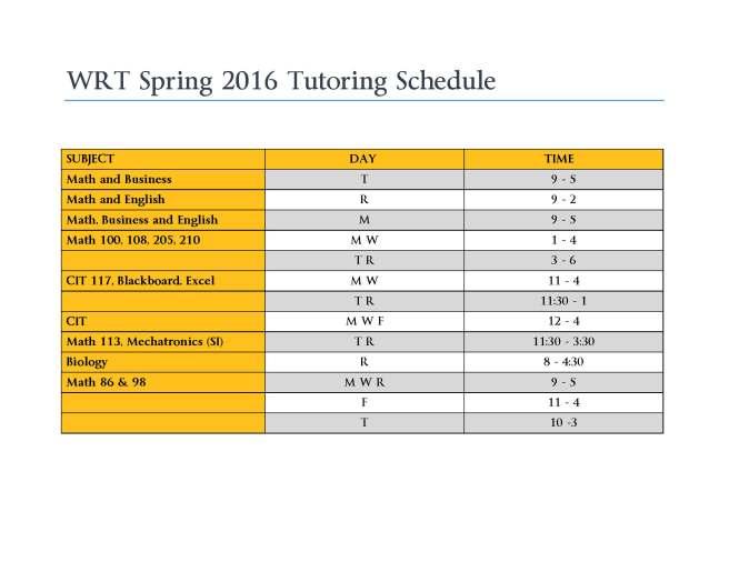 WRT Spring 2016 Schedule